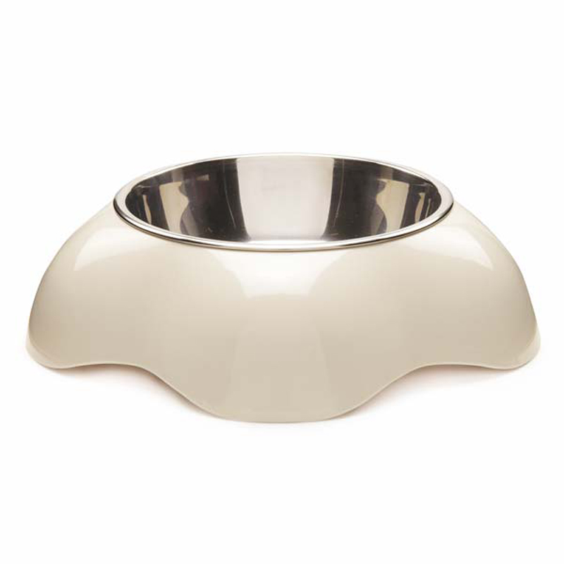 Zack and Zoey Fleur Melamine Dog Bowl - Ivory