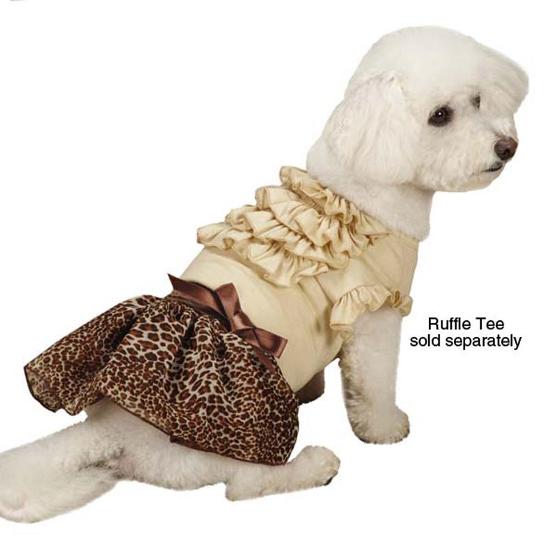 Leopard Ribbon Dog Skirt - Brown