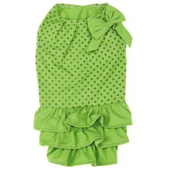 Zack & Zoey Polka Dot Ruffle Dog Dress - Parrot Green