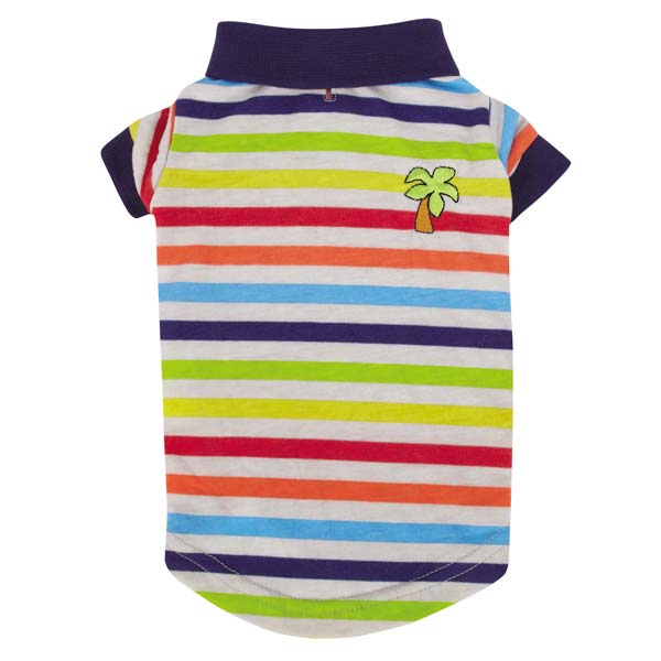 Zack and Zoey Under the Sea Striped Dog Polo