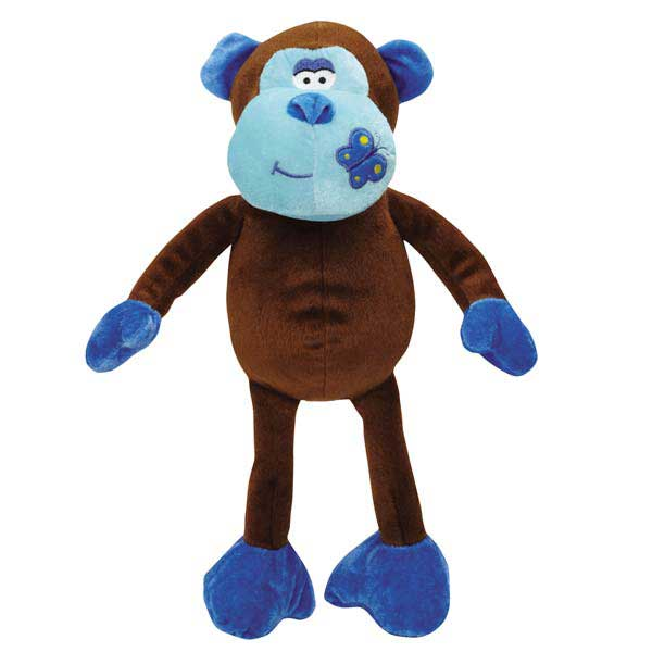 Zanies Butterfly Kisses Chimp Dog Toy - Blue