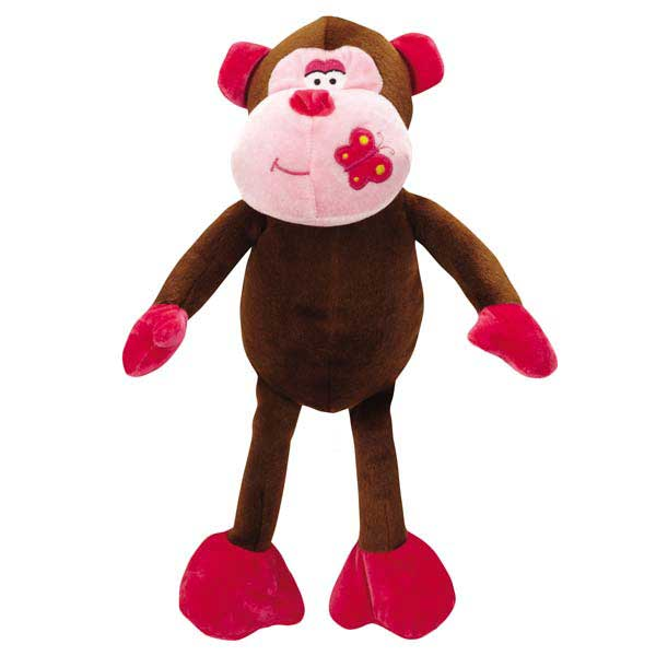 Zanies Butterfly Kisses Chimp Dog Toy - Pink