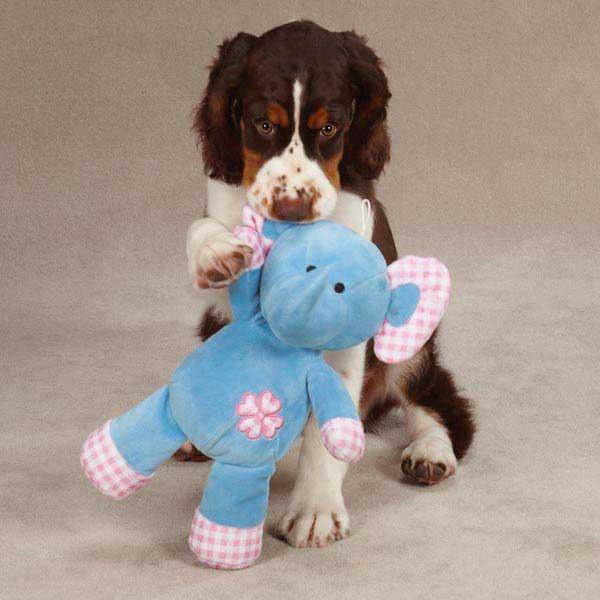 Zanies Gingham Tot Dog Toy - Elephant