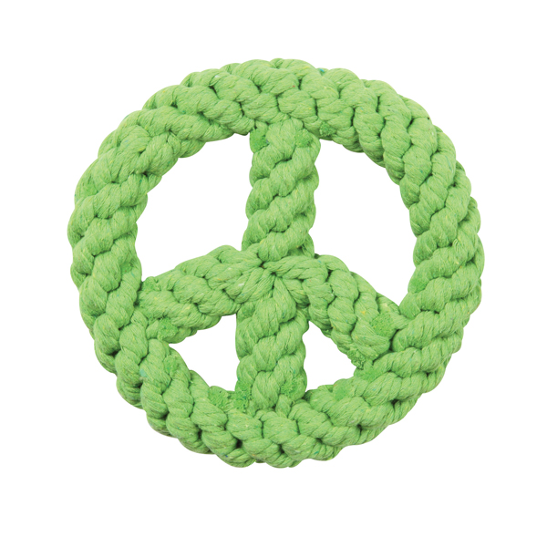 Zanies Peace Sign Rope Toy - Parrot Green