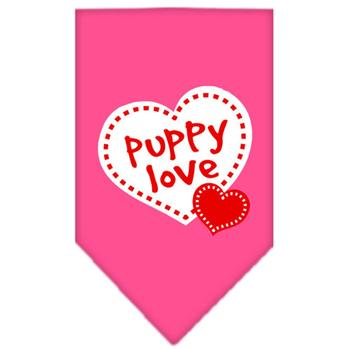 Puppy Love Screen Print Dog Bandana - Bright Pink starting at $4.00!
