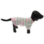 View Image 5 of FouFou Striped Dog Onesie - Pink