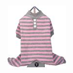 View Image 1 of FouFou Striped Dog Pajamas - Pink