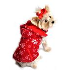 View Image 1 of 4 in 1 Fleece Dog Hoodie and Vest Combination - Red Snowflake