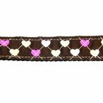 View Image 3 of Argyle Hearts Dog Leash - Brown