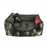 View Image 1 of Battlefield Camo Dog Bed with Toy by Puppia