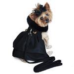 Wool Fur-Trimmed Dog Harness Coat - Black