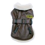 Brown and Black Faux Leather Bomber Dog Coat Harness and Leash