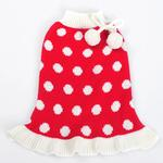 View Image 1 of Bubble Dot Dog Sweater Dress by Dogo - Red