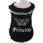 View Image 1 of Butterfly Princess Blouse Dog Shirt - Black with Blue Trim