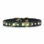 View Image 3 of Camo Diamond & Pyramid Dog Collar - Green