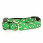 Candy Cane Bones Nylon Dog Collar