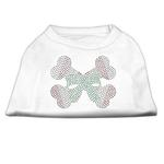 Candy Cane Crossbones Rhinestone Dog Shirt - White