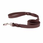 View Image 1 of Casual Canine Flat Leather Braided Ends Dog Leash - Brown