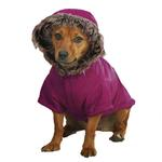 View Image 2 of Casual Canine Fur Trim Dog Parka - Deep Raspberry