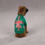 View Image 1 of Christmas Present Dog T-Shirt - Green