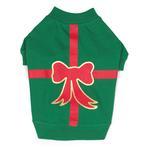 View Image 2 of Christmas Present Dog T-Shirt - Green