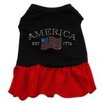 Classic American Rhinestone Dog Dress - Black with Red Skirt
