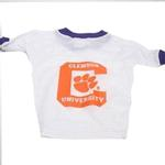 View Image 1 of Clemson Tigers White Dog Jersey - Big C with Paw Inside
