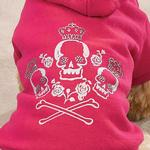View Image 2 of Crowned Crossbone Hoodies - Raspberry Sorbet