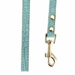 View Image 3 of Crystal Bone Leather Dog Leash - Paradise Blue