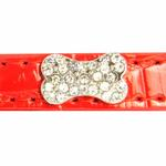 View Image 4 of Crystal Bone Leather Dog Leash - Red