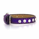 Clear Crystal Puppy Ice Cream Dog Collar - Purple