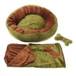 View Image 4 of Donut 3-Piece Dog Bed Set - Green/Brown