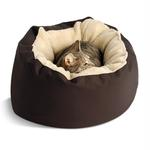 View Image 1 of Donut Sherpa Cat Bed by Dog Gone Smart - Brown