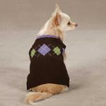 View Image 1 of Academy Argyle Dog Sweater - Chocolate