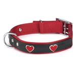 View Image 1 of East Side Collection Heart Charm Dog Collar - Red & Black
