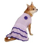 View Image 2 of East Side Collection Pointelle Knit Dog Dress - Lilac