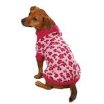 View Image 2 of East Side Collection Vibrant Leopard Dog Sweater - Raspberry