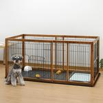 View Image 1 of Expandable Pet Pen with Floor Tray - Brown/Black