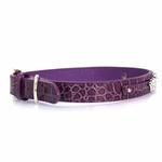 Faux Crocodile Dog Collar with Letter Strap - Purple