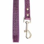 View Image 2 of Faux Crocodile Dog Leash- Purple