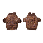 View Image 1 of Faux Leather Bomber Jacket - Brown