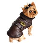 View Image 1 of Faux Leather Brown Bomber Dog Coat - Brown Trim