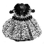 View Image 1 of Floral Dog Dress by Doggie Design - Black and White