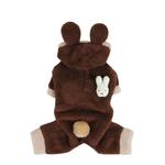 View Image 1 of Fluffy Bunny Dog Jumpsuit by Puppia - Brown