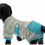 View Image 5 of FouFou Striped Dog Onesie - Blue