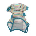 View Image 2 of FouFou Striped Dog Onesie - Blue
