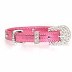 View Image 2 of Foxy Jewel Dog Collar - Metallic Pink