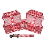 View Image 2 of Gingham Cool Mesh Dog Harness by Doggie Design - Red