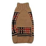 View Image 2 of Handmade Wool Plaid Dog Sweater - Tan