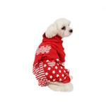 View Image 3 of Happy Star Hooded Dog Jumpsuit by Puppia - Red